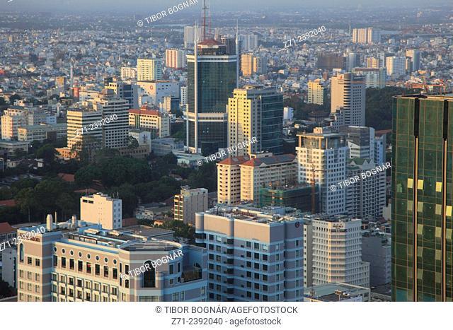Vietnam, Ho Chi Minh City, Saigon, skyline, aerial view,