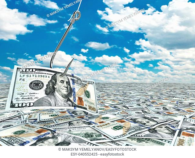 Dollar and fish-hook on cloudscape. Financial concept. . 3d