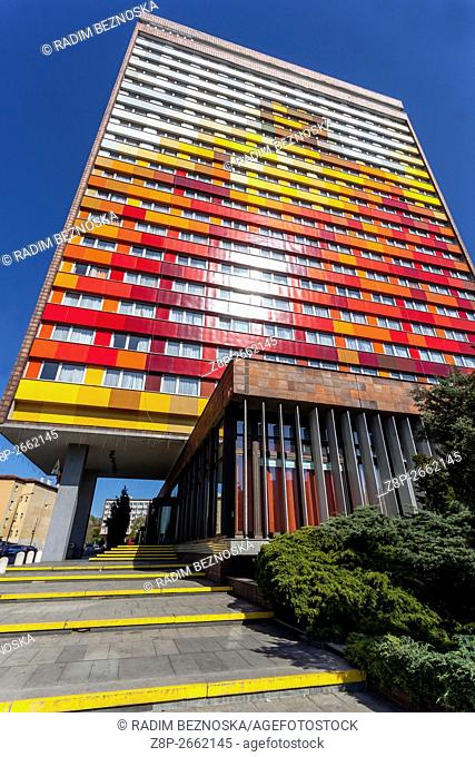 Olympic Hotel building, located in the district of Karlin, Prague, Czech Republic