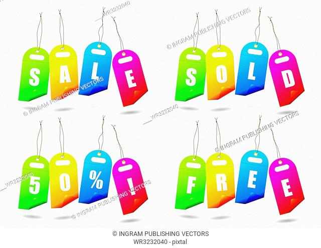 Collection of brightly coloured sale tags