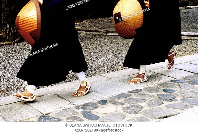 Shinto Monks wearing straw sandals at Daitokuji in Kyoto Japan