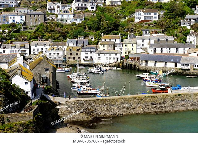 Fishing port and harbor wall, Polperro, Cornwall, England, UK