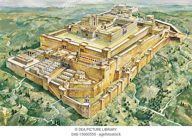 Archaeology - Jerusalem. Temple and Palace. Colour illustration