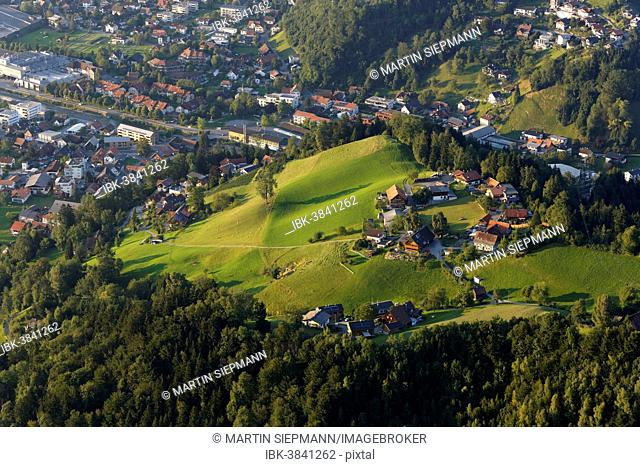 Bürgle, a settlement on the outskirts of Dornbirn, seen from Karren mountain, Dornbirn, Vorarlberg, Rhine Valley, Austria