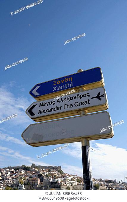 Europe, Greece, Kavala, signs