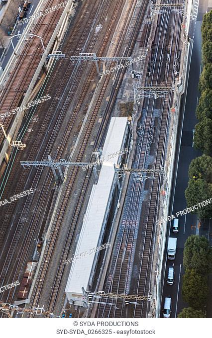view of railway in tokyo city, japan