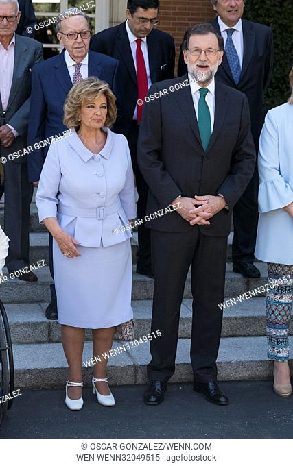 Spanish Prime Minister Mariano Rajoy presents medals to 'Merit In Work' winners in Madrid Featuring: President Mariano Rajoy, Maria Teresa Campos Where: Madrid