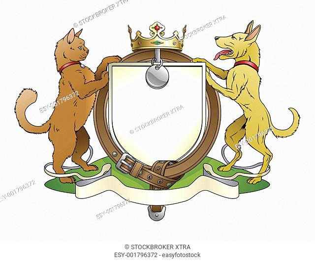 Cat and dog pets heraldic shield coat of arms. Notice the collar instead of garter