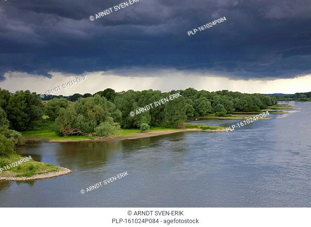 Thunderstorm over the UNESCO Elbe River Landscape biosphere reserve in summer, Lower Saxony, Germany