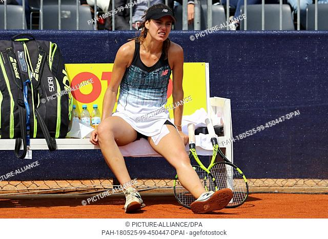 25 May 2018, Germany, Nuremberg: Tennis, WTA-Tour, women's singles, quarter finals. Romania's Sorana Cirstea sits on the bench