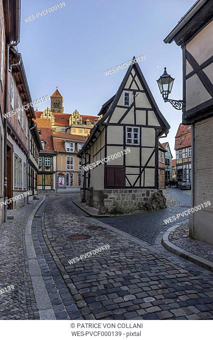 Germany, Saxony-Anhalt, Quedlinburg, Timber-framed houses at Finkenherd