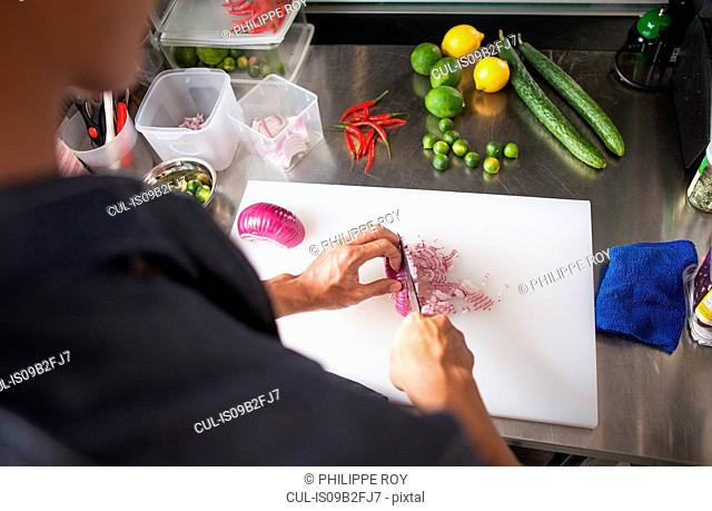 Cropped view of man slicing red onion