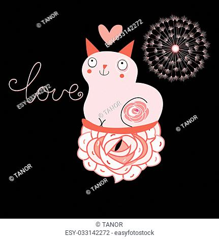 love funny cat on a black background with heart