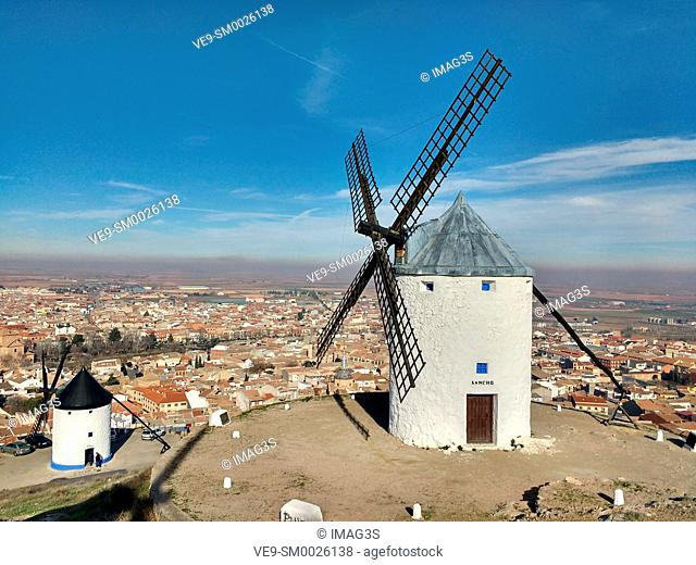 Winmills in Consuegra village, Toledo province, Castilla La Mancha