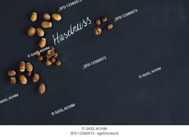 Hazelnuts, whole and hulled, arranged around the German word for hazelnut written in chalk on a blackboard