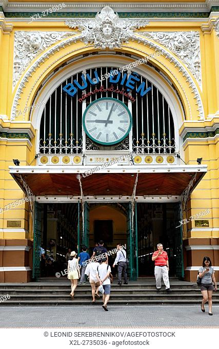 Entrance to the Central Post Office building. Ho Chi Minh City, Vietnam