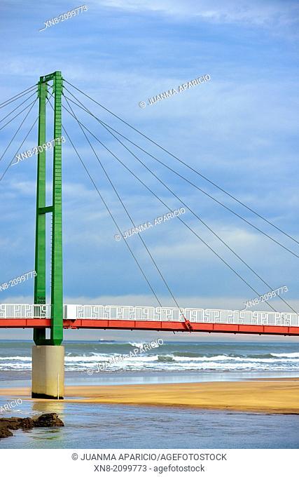 Footbridge between Pobeña and La Arena beach, Muskiz, Biscay, Basque Country, Euskadi, Spain, Europe