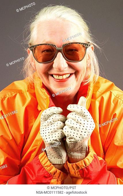 elderly lady rather flashy