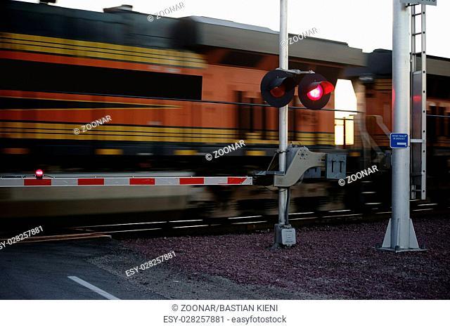 Railway crossing in the twilight