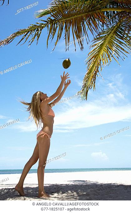 Woman on the beach. Miami Beach, Florida, USA