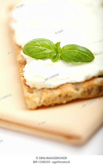 Crispbread with cream cheese and basil on a cloth napkin