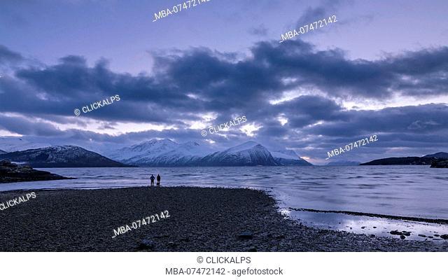 A walk along the coast in Alesund, twilight time at Storfjorden, Vestlandet, More og Romsdal county, Norway, Europe