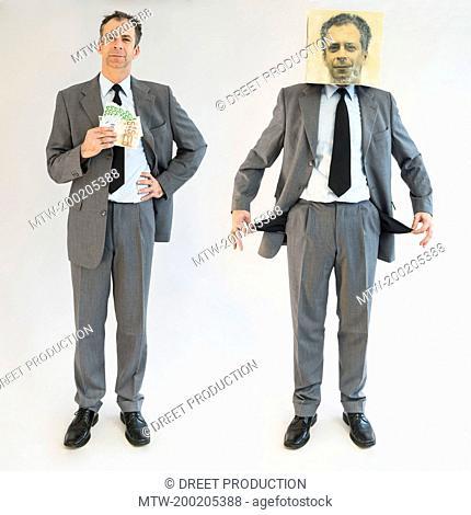 Businessman imagining self image of bankruptcy