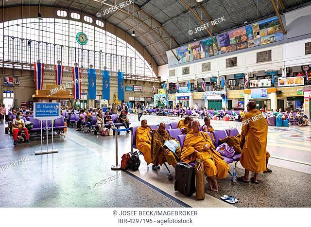 Central station, monks in waiting lounge, Hua Lamphong Railway Station, Chinatown, Bangkok, Thailand