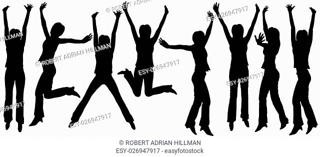 Set of editable vector silhouettes of jumping women