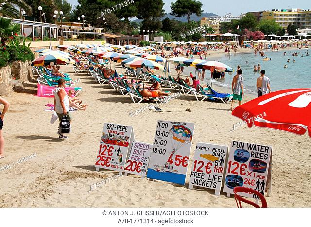 Spain , balearic island , Ibiza , advertising for watersports at the beach