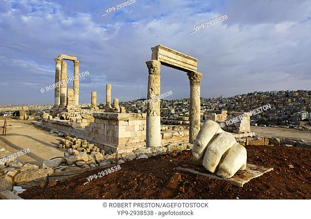 The Temple of Hercules and sculpture of a hand in the Citadel, Amman, Jordan