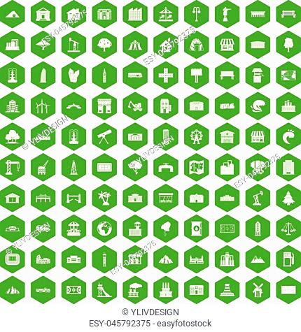 100 landscape element icons set in green hexagon isolated vector illustration