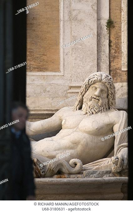 Italy, Rome. place of Michelangelo, Capitolini museum, Fountain Of River God Marforio