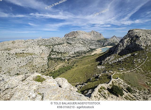 embalse de Cúber desde la sierra de Rateta, Paraje natural de la Serra de Tramuntana, Mallorca, balearic islands, Spain