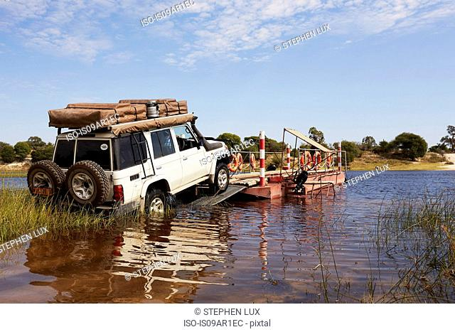 Ferrying vehicle, Boteti River, Nxai Pan National Park, Kalahari Desert, Africa