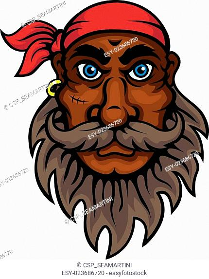Cartoon bearded old pirate with red bandanna