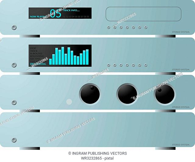 A illustration offour seperate stereo units in silver