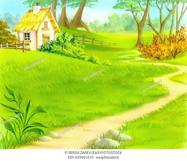 Digital Painting, Illustration of a path near old wooden house. Cartoon Style Character, Fairy Tale Story Background