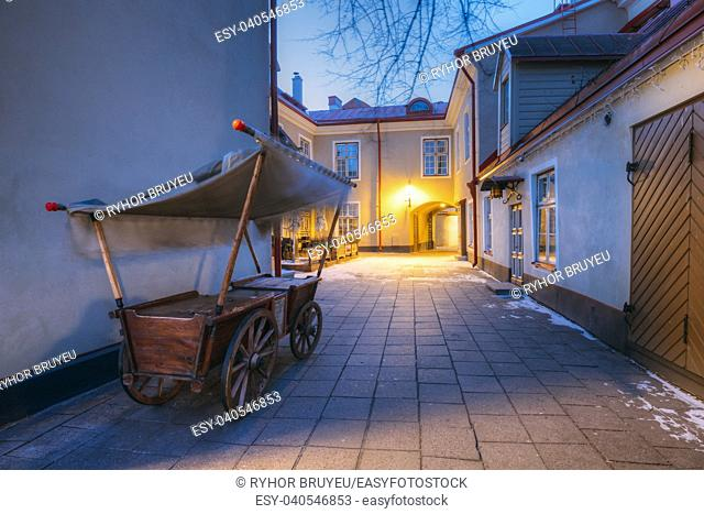 Traditional Old European Medieval Cart Is In Old Night Street Of European Town