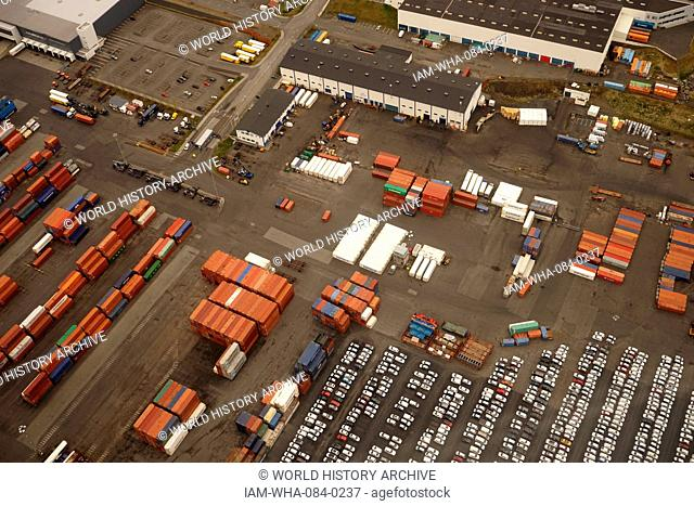 Aerial view of outskirts of Reykjavik, Iceland. Pictured are shipping containers at the dockyard. Dated 21st Century