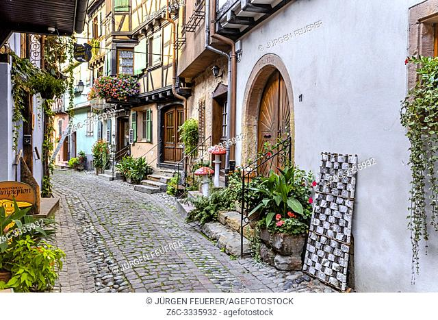 houses in the small old village Eguisheim, Alsace, France, lane with timbered houses and flower decoration