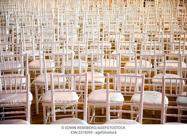 Many empty white chairs at Gettysburg, Pennsylvania, USA