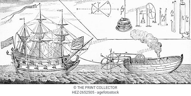 'Jonathan Hull's Steam Tug Boat', 1736, (1904). Jonathan Hulls or Hull (baptised 1699 - 1758) was an English inventor, a pioneer of steam navigation