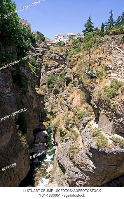 View of the El Tajo gorge, Ronda, Western part of the Province of Malaga, Andalucía, Spain