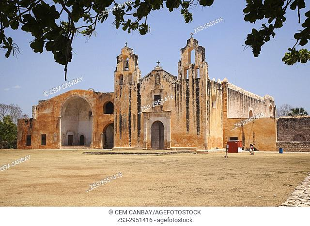 View to the San Miguel Arcangel Church in Mani town, Merida, Yucatan State, Mexico, Central America