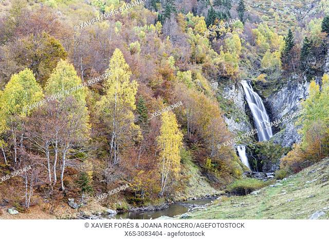 Saut desh Pish waterfall, Varradòs valley, Val d'Aran, Lleida, Spain