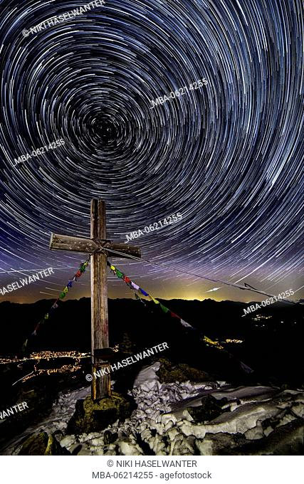 Star trails over the Cross of Plattkofel in South Tyrol