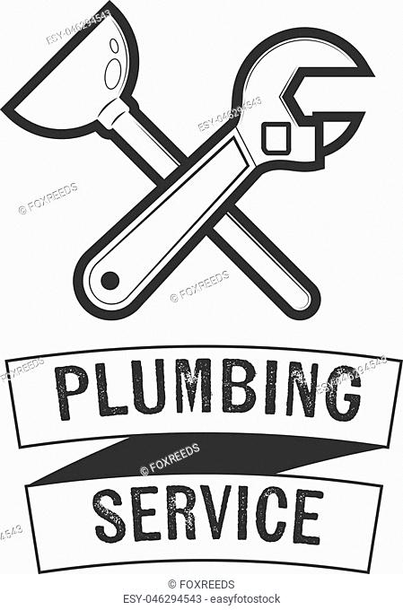 Plumbing service logos and signs. Vector insignia for your design