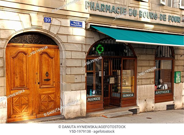Pharmacy at Place du Bourg-de-Four, square in the old town of Geneva, Switzerland, Europe