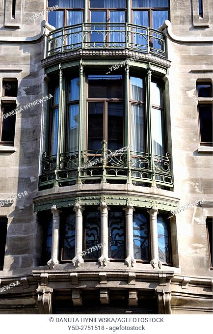 Front facade of Hotel Tassel town house built by Victor Horta for the Belgian scientist and professor Emile Tassel in 1893–1894, first true Art Nouveau building